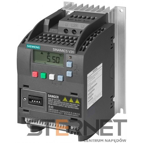 SINAMICS V20 3AC380-480V -15/+10% 47-63HZ RATED POWER 0.55KW WITH 150% OVERLOAD FOR 60SEC INTEGRATED FILTER C3 I/O-INTERFACE: 4DI, 2DO,2AI,1AO FIELDBUS: USS/ MODBUS RTU WITH INBUILT BOP PROTECTION: IP20/ UL OPEN TYPE SIZE:FSA 90X150X146(HXWXD)