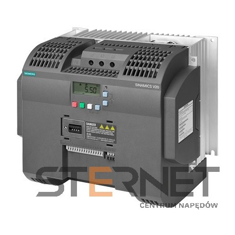 SINAMICS V20 3AC380-480V -15/+10% 47-63HZ RATED POWER 7.5KW WITH 150% OVERLOAD FOR 60SEC INTEGRATED FILTER C3 I/O-INTERFACE: 4DI, 2DO,2AI,1AO FIELDBUS: USS/ MODBUS RTU WITH INBUILT BOP PROTECTION: IP20/ UL OPEN TYPE SIZE:FSD 240X207X173(HXWXD)