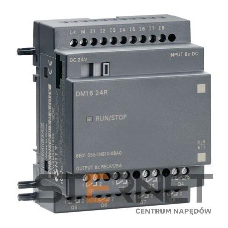 LOGO! DM16 24R, moduł rozszerzeń, zasilanie 24V DC/8 wejść cyfrowych 24V DC/8 wyjść przekaźnikowych, 4TE