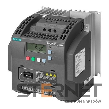 SINAMICS V20 3AC380-480V -15/+10% 47-63HZ RATED POWER 3.0KW WITH 150% OVERLOAD FOR 60SEC FILTER C3 I/O-INTERFACE: 4DI, 2DO,2AI,1AO FIELDBUS: USS/ MODBUS RTU WITH INBUILT BOP PROTECTION: IP20/ UL OPEN TYPE SIZE:FSC 184X182X169(HXWXD)